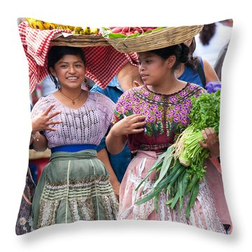 Fruit Sellers In Antigua Guatemala Throw Pillow by David Smith