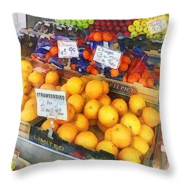 Fruit Stand Hoboken Nj Throw Pillow by Susan Savad