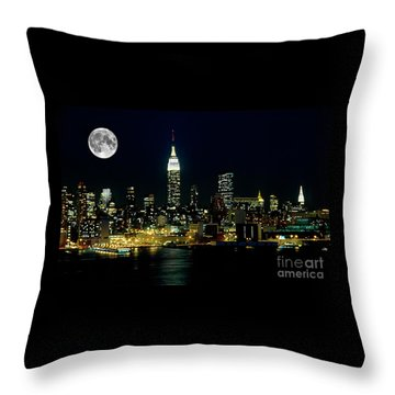 Full Moon Rising - New York City Throw Pillow by Anthony Sacco