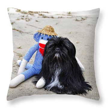 Funky Monkey And Sweet Shih Tzu Throw Pillow by Al Powell Photography USA
