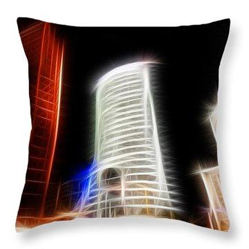 Futuristic Buildings In Berlin Potsdamer Platz Digital Art Throw Pillow by Matthias Hauser