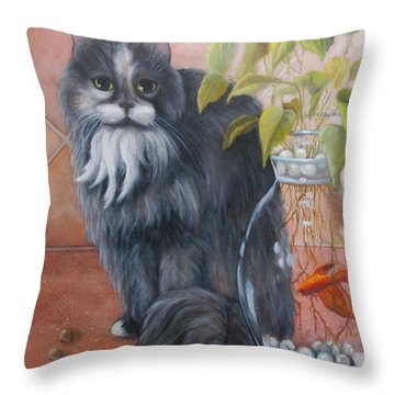 Fuzz And Homer Throw Pillow by Marlene Book