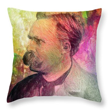 F.w. Nietzsche Throw Pillow by Taylan Soyturk