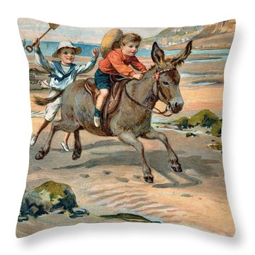 Galloping Donkey At The Beach Throw Pillow by Unknown