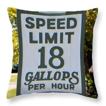 Gallops Per Hour Throw Pillow by Cynthia Guinn