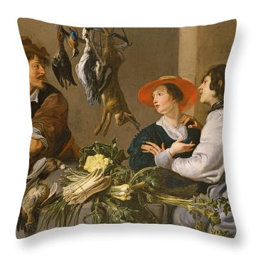 Game And Vegetable Sellers Oil On Canvas Throw Pillow by Theodor Rombouts