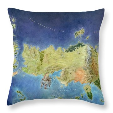 Game Of Thrones World Map Throw Pillow by Gianfranco Weiss