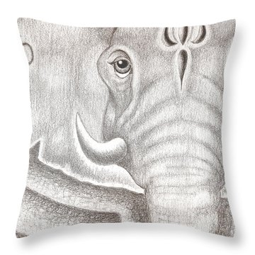 Ganesh Throw Pillow by Adam Wood
