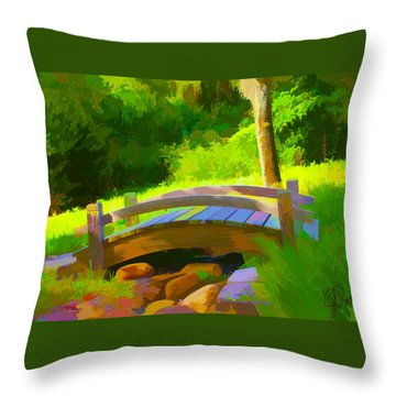 Garden Bridge Throw Pillow by Gerry Robins