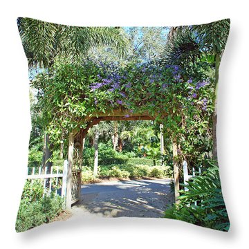Garden Walkway Throw Pillow by Aimee L Maher Photography and Art Visit ALMGallerydotcom
