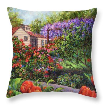Garden With Tulips And Wisteria Throw Pillow by Susan Savad