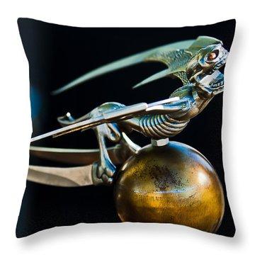 Gargoyle Hood Ornament Throw Pillow by Jill Reger