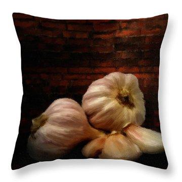Garlic Throw Pillow by Lourry Legarde