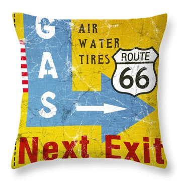 Gas Next Exit- Route 66 Throw Pillow by Linda Woods