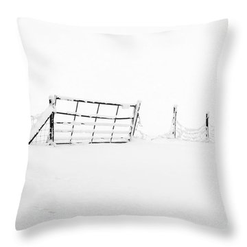 Gate In Snow Throw Pillow by Anne Gilbert
