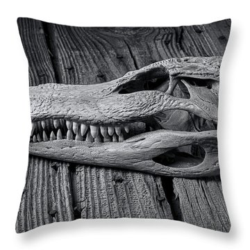 Gator Black And White Throw Pillow by Garry Gay
