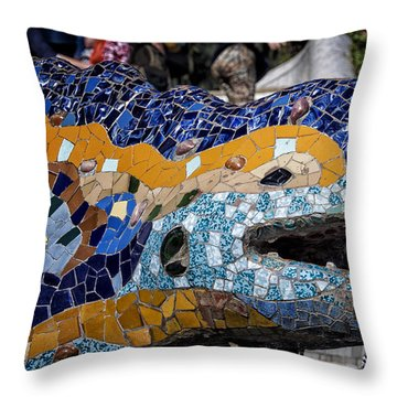 Gaudi Dragon Throw Pillow by Joan Carroll