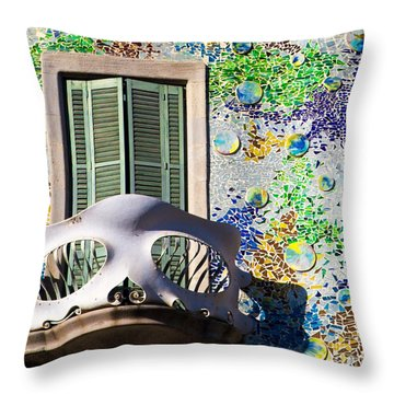 Gaudis Skull Balcony And Mosaic Walls Throw Pillow by Rene Triay Photography