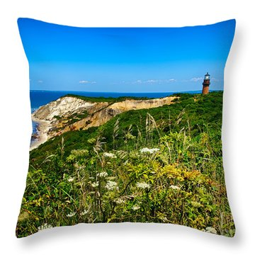 Gay Head Light And Cliffs Throw Pillow by Mark Miller