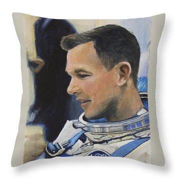 Gemini Viii Dave Scott Throw Pillow by Simon Kregar