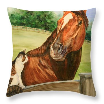 General Charlie And Whirlaway The Cat Portrait Throw Pillow by Kristine Plum