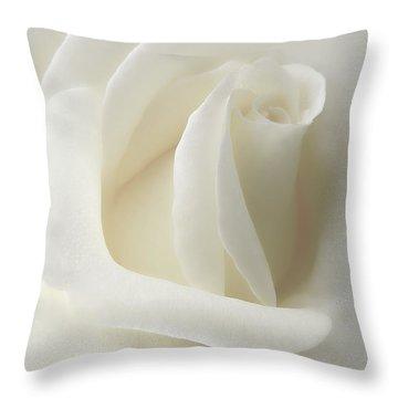 Gentle White Rose Flower Throw Pillow by Jennie Marie Schell