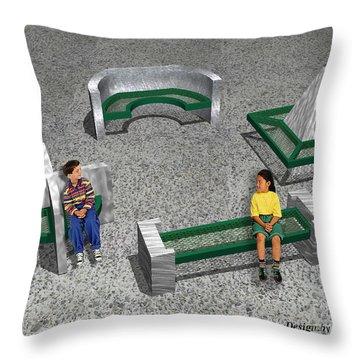 Geo Benches Throw Pillow by Peter Piatt
