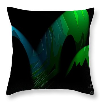Geometric Art Designs In Blue And Green Throw Pillow by Mario Perez
