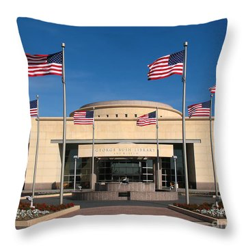 George Bush Presidential Library - College Station Texas Throw Pillow by Connie Fox
