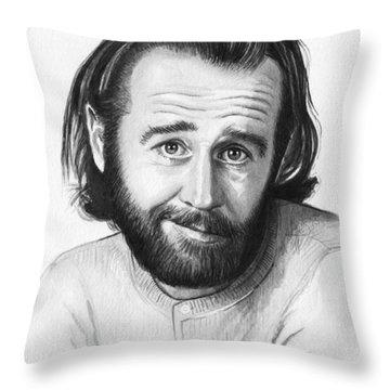 George Carlin Portrait Throw Pillow by Olga Shvartsur