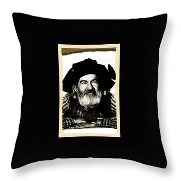 George Hayes Portrait #1 Card Throw Pillow by David Lee Guss