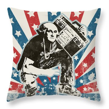 George Washington - Boombox Throw Pillow by Pixel Chimp