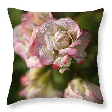 Geranium Flowers Throw Pillow by Joy Watson