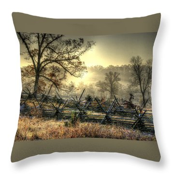 Gettysburg At Rest - Sunrise Over Northern Portion Of Little Round Top Throw Pillow by Michael Mazaika