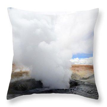 Geyser Sol De Manana Bolivia 1 Throw Pillow by Bob Christopher