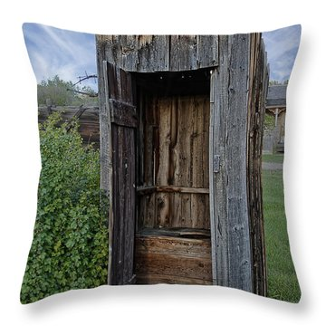 Ghost Town Outhouse - Montana Throw Pillow by Daniel Hagerman