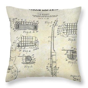 Gibson Les Paul Patent Drawing Throw Pillow by Jon Neidert