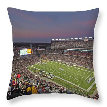 Gillette Stadium And New England Patriots Throw Pillow by Juergen Roth