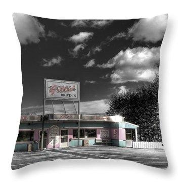 Gillis' Drive-in Throw Pillow by Elisabeth Van Eyken