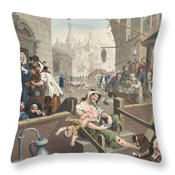Gin Lane, Illustration From Hogarth Throw Pillow by William Hogarth