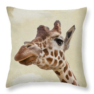 Giraffe Close Up Throw Pillow by Svetlana Sewell