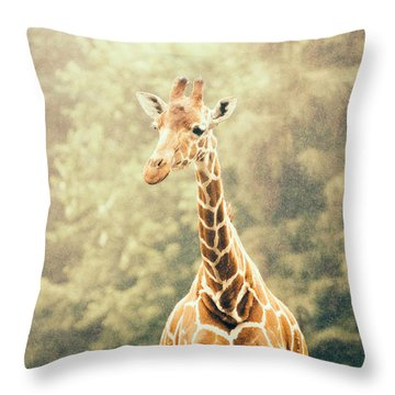 Giraffe In The Rain Throw Pillow by Pati Photography