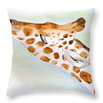 Giraffe With Tongue Out Throw Pillow by Pati Photography