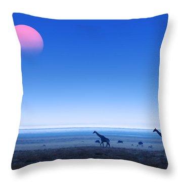 Giraffes On Salt Pans Of Etosha Throw Pillow by Johan Swanepoel
