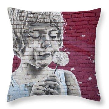 Girl Blowing A Dandelion Throw Pillow by Chris Dutton
