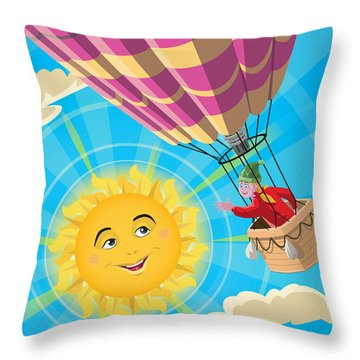 Girl In A Balloon Greeting A Happy Sun Throw Pillow by Martin Davey