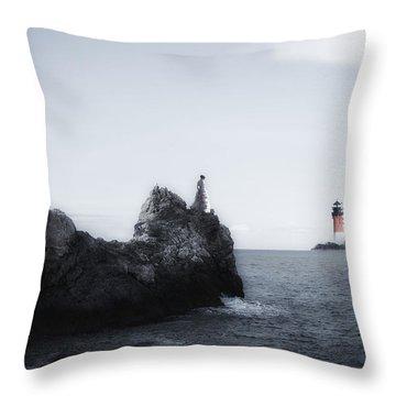 Girl On Cliffs Throw Pillow by Joana Kruse