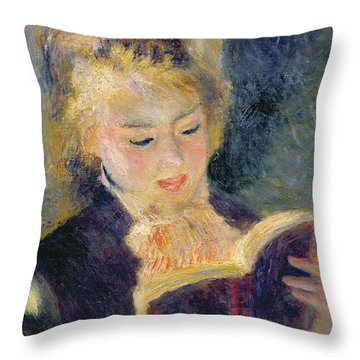 Girl Reading Throw Pillow by Pierre Auguste Renoir