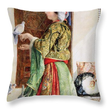Girl With Two Caged Doves, Cairo, 1864 Throw Pillow by John Frederick Lewis