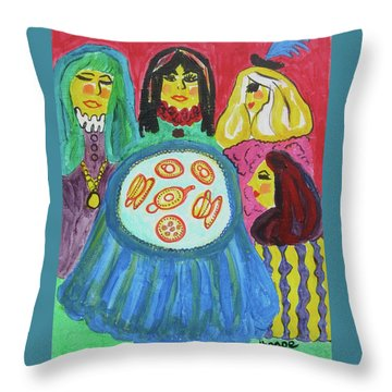 Girlfriends Throw Pillow by Diane Pape